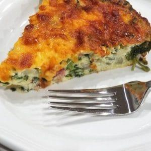 Easy Cheesy Spinach and Ham Crustless Quiche