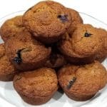 100% Whole Wheat Blueberry Muffins