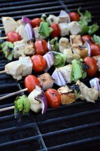 Grilled Chicken Caesar Salad Skewers
