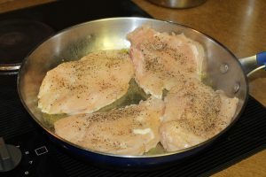 Sear Chicken in hot oil
