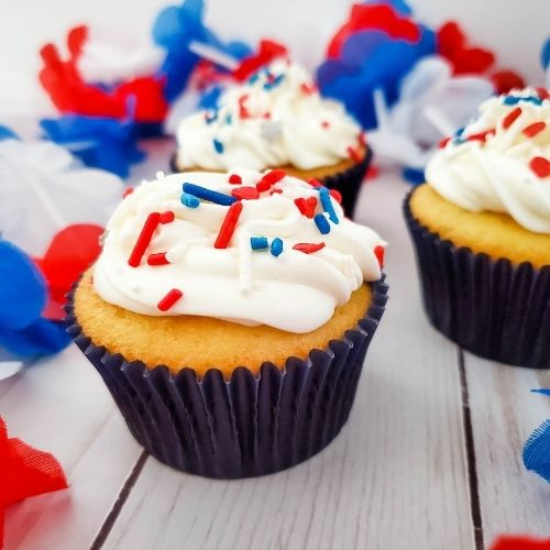 Red, White, and Blue Sprinkle Explosion Cupcakes