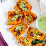 Loaded Sweet Potato Skins with Candied Bacon and a Spicy Basil Cream Sauce